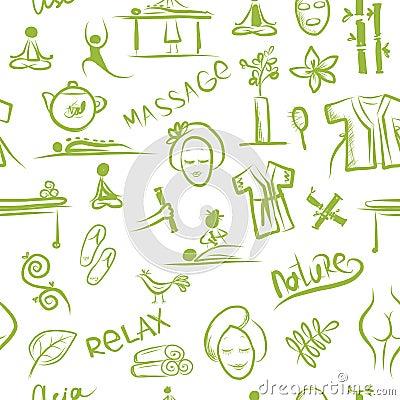 Massagem e conceito dos termas, teste padrão sem emenda para o seu