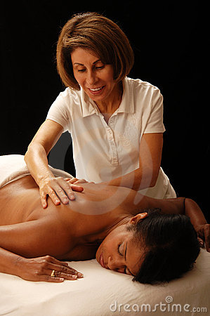 Masseuse and client