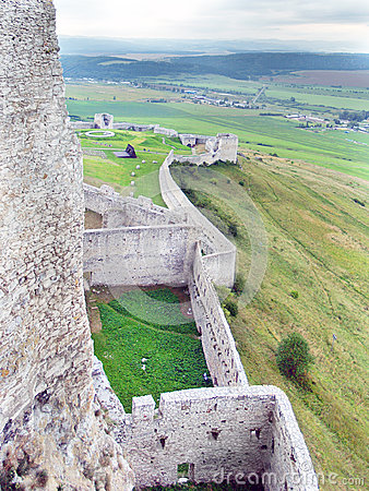 Massive fortification walls of Spissky Castle