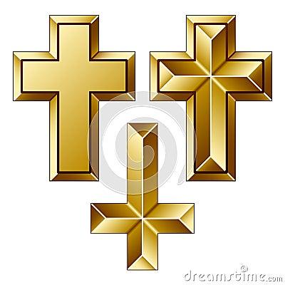 Massive golden christian crosses