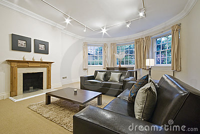Massive living room with bay window