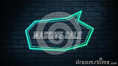 Massive sale words in green neon ilustracji
