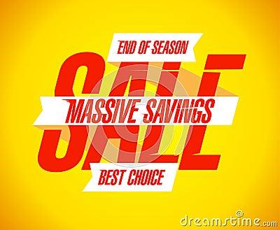Massive savings sale banner.