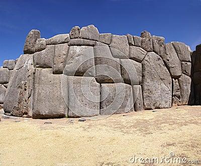 Massive stones in Inca fortress walls