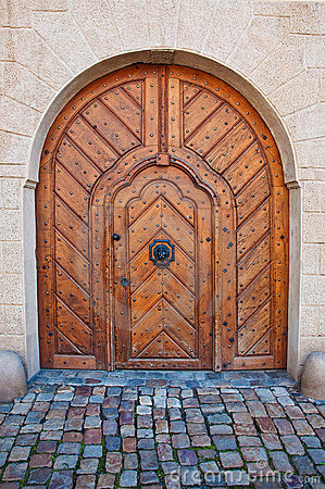 Massive wooden door