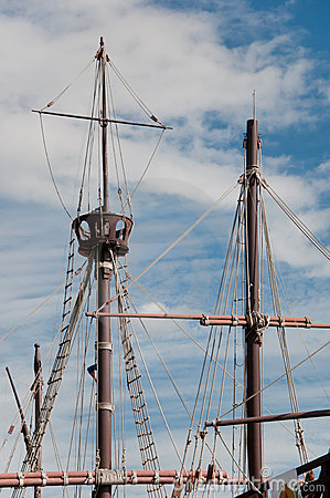 Mast of the replica of a Columbus s ship