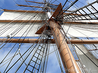 Mast rigging and sail of tallship