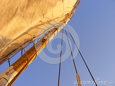 Mast of a sailing boat and blue sky