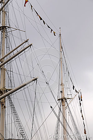 Mast of a sailing - port Hamburg