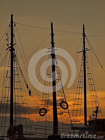 Mast in sunset