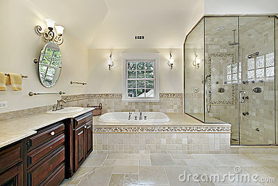 Master bath with large glass shower royalty free stock for Bathroom design 9x9