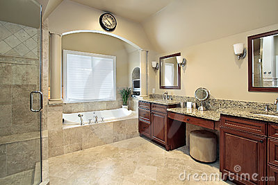 Master bath with tub columns