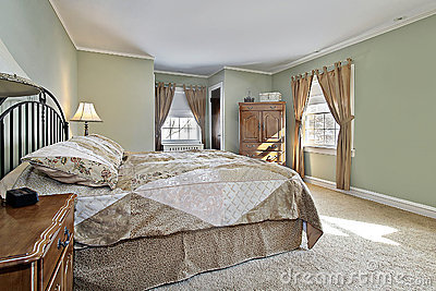 Master Bedroom With Green Walls Stock Photo Image 12524000