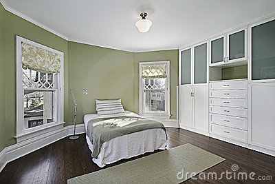 Master bedroom with green walls