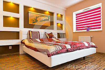 Master bedroom interior with white bed