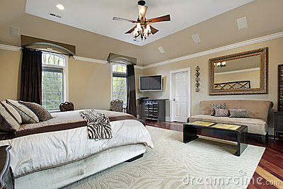 master bedroom with tray ceiling stock photos image