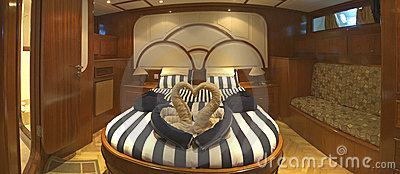 Master cabin on a luxury yacht
