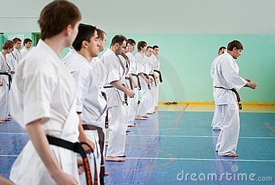 Master karate gives a lesson Editorial Photo