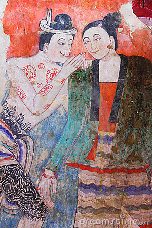 Masterpiece of traditional Thai style painting art