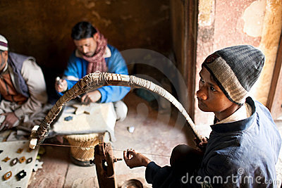 Masters of cutting marble in Agra, India Editorial Photography