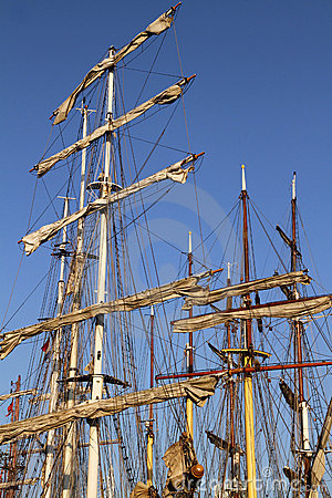 Masts on several tall ships