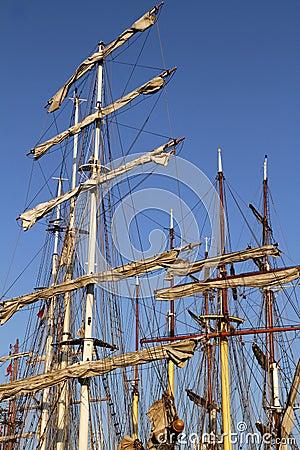Masts on several tall ships