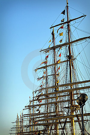 Masts of Tall ships in port