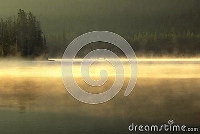 Matasse di foschia esile che vanno alla deriva sopra un lago calmo all'alba video d archivio