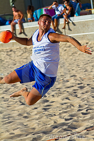 Match of the 19th league of beach handball, Cadiz Editorial Stock Photo
