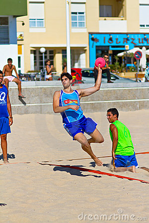 Match of the 19th league of beach handball, Cadiz Editorial Photo