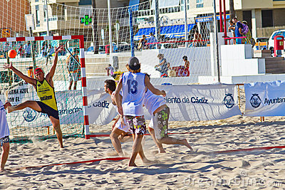 Match of the 19th league of beach handball, Cadiz Editorial Stock Image