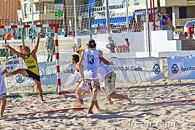 Match of the 19th league of beach handball, Cadiz Editorial Stock Image
