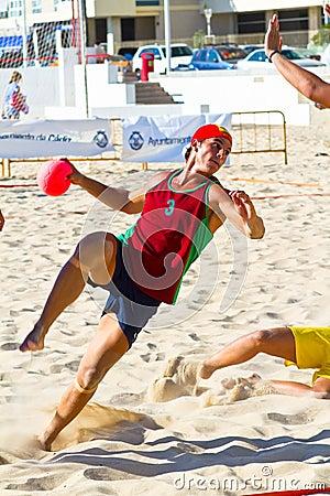 Match of the 19th league of beach handball, Cadiz Editorial Image