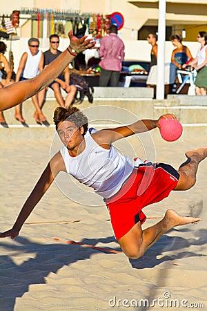 Match of the 19th league of beach handball, Cadiz Editorial Photography