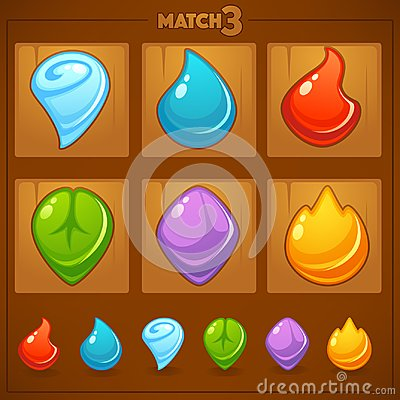 Free Match 3 Mobile Game, Games Objects, Earth, Water, Fire,  Royalty Free Stock Photo - 106250045