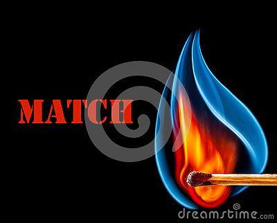 Match is burning on black background