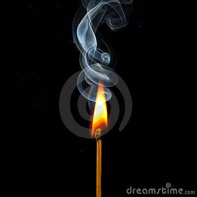 Match in flame and smoke