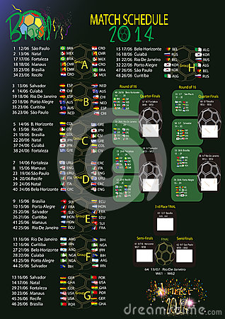 Free Match Schedule World Cup 2014 Royalty Free Stock Photography - 36574807