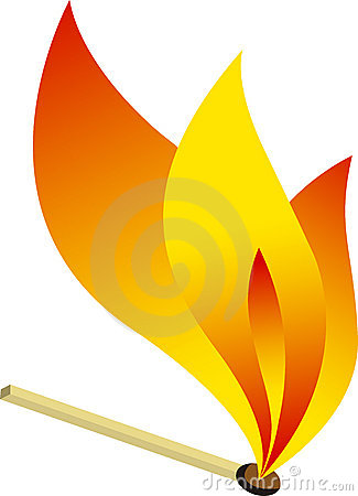Match stick fire logo