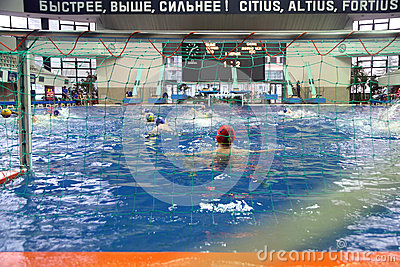 Match of teams Astana and Dynamo on water polo Editorial Image