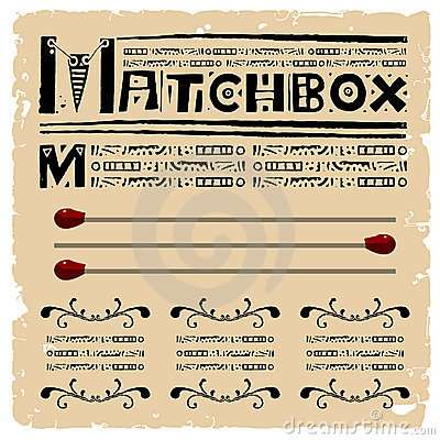 Free Matchbox Typography Woodcut Royalty Free Stock Images - 19434019