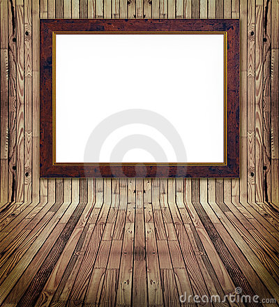 Matched pine plank interrior and frame Stock Photo