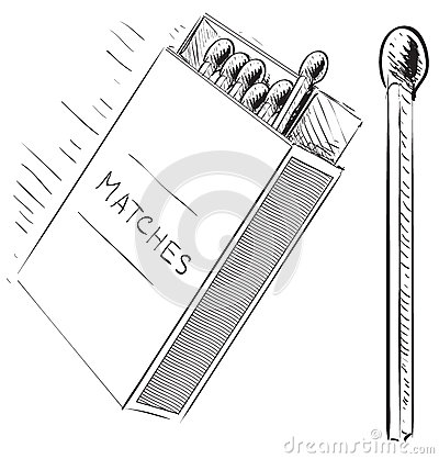 Matches and box sketch doodle icon