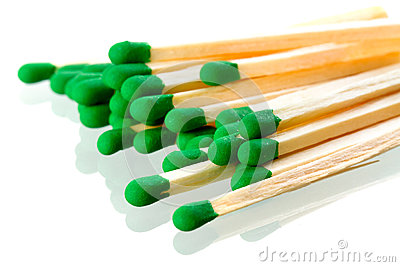 Matches close up over white
