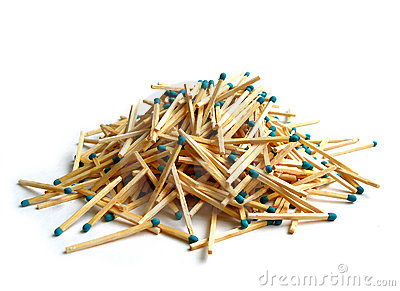 Matches heap over white