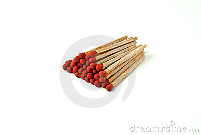 Matches stack isolated on white background