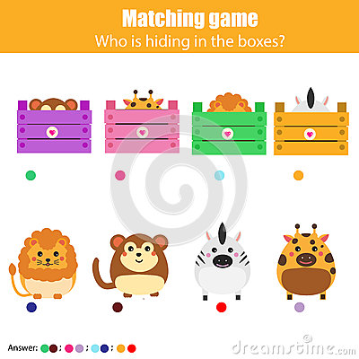 Free Matching Children Education Game, Kids Activity. Match Animals With Box Royalty Free Stock Photography - 84157067