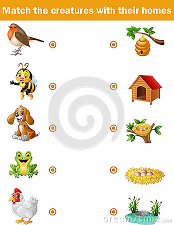 Free Matching Game For Children, Animals With Their Homes Royalty Free Stock Image - 79293606