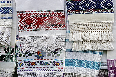 Materials and embroidered Romanian