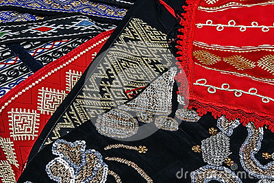 Materials and embroidered Romanian traditional 1